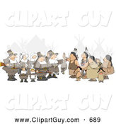 Clip Art of AGroup of Unpredictable Pilgrims Offering a Dead Turkey to Indians on Thanksgiving by Djart