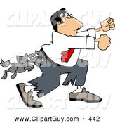 Clip Art of AGuard Dog Attacking a Man Running Away by Djart