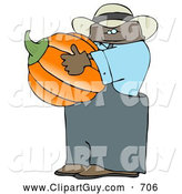 Clip Art of AHappy Ethnic Male Farmer Carrying a Pumpkin for Halloween by Djart