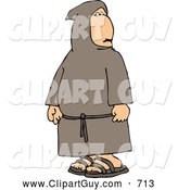 Clip Art of AHumble, Religious Buddhist Christian Monk by Djart