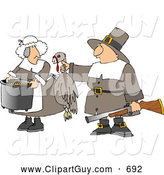 Clip Art of AMale Pilgrim Hunter Holding up a Dead Harvest Turkey for His Wife to Cook - Thanksgiving by Djart