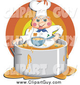 January 2nd, 2014: Clip Art of AMessy Chef Eating Food Inside His Pot by Prawny
