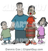 Clip Art of an African American Family Standing Together As a Group - Mother, Father, Son and Daughter by Djart