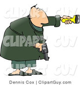 Clip Art of an Alert Man at Night, Pointing a Flashlight and Holding a Pistol for Protection by Djart
