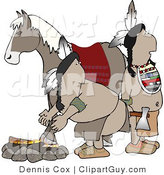 Clip Art of an Alert Pair of Native Americans Standing Beside a Campfire and Horse by Djart