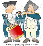Clip Art of an American Revolutionary War Drummer and Flute Player Side by Side by Djart