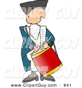 Clip Art of an American Revolutionary War Drummer on White by Djart