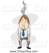 Clip Art of an Exhausted and Burnt out Business Man by BNP Design Studio