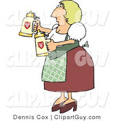 Clip Art of an Oktoberfest German Woman Serving Beer in Steins to Customers by Djart