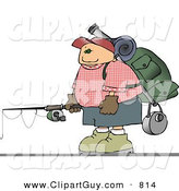 Clip Art of an Outdoorsy Young Male Hiker Carrying Camping Gear and a Fishing Pole by Djart