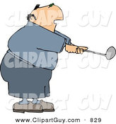 Clip Art of an Overweight Caucasian Elderly Man Swinging a Golf Club by Djart