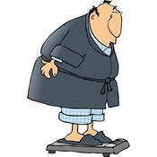 Clip Art of an Overweight Man Weighing Himself on a Standard Bathroom Scale by Djart