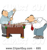 Clip Art of APair of Men Playing a Game of Pool in Their Business Suits by Djart