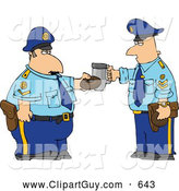 Clip Art of APair of Policemen Toasting Donut and Coffee Cup Together by Djart