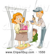 Clip Art of APrankster Boy Having a Funny Dress Delivered to His Mom by BNP Design Studio