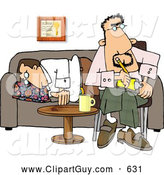 Clip Art of AProfessional Psychiatrist Sitting Beside a Sleeping Patient on a Couch by Djart