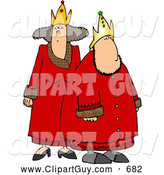 Clip Art of ARoyal King and Queen Wearing Red Robes and Gold on White by Djart