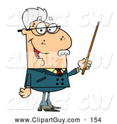 Clip Art of ASenior Caucasian Professor Man Holding a Pointer by Hit Toon