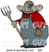 Clip Art of ASmiling Mexican Cowboy Farmer Holding a Pitchfork, on White by Djart