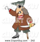 Clip Art of ASpooky Pirate with Missing Teeth, Hook Hand, Holding a Knife, and a Wooden Leg by Djart