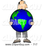 Clip Art of AWhite Businessman Holding the World in His Hands - Concept by Djart