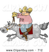 Clip Art of AWhite Cowboy Riding a Fast Horse by Djart