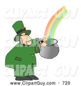 Clip Art of AWhite Leprechaun Catching a Rainbow in a Pot by Djart