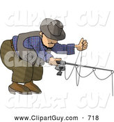 Clip Art of AWhite Man Fishing with a Standard Rod by Djart