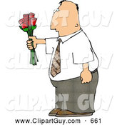 Clip Art of AWhite Man Giving Flowers by Djart