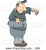 Clip Art of AWhite Man Holding a Vibrating Pager and Checking the Time on His Wrist Watch by Djart