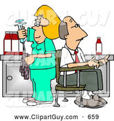 October 12nd, 2013: Clip Art of AWhite Nurse Cleaning Needle After Drawing Blood Samples from Male Patient - Medical Humor by Djart