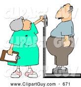 Clip Art of AWhite Nurse Weighing Overweight Man on a Scale by Djart