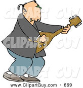 Clip Art of AWhite Old Rocker Playing a Guitar by Djart