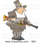 Clip Art of AWhite Pilgrim Man Hunting for Wild Turkey - Thanksgiving Clipart by Djart