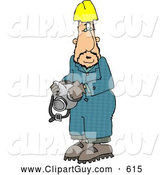 Clip Art of AWorker Man Wearing a Yellow Hardhat and Holding a Respirator by Djart