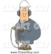 Clip Art of AWormer Man in a Hardhat and Ear Muffs, Operating a Jackhammer by Djart