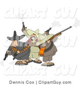 Clip Art of Banditos Shooting Pistols and Rifles into the Air by Djart