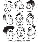 Clip Art of Black and White Guy Stick People Faces by Prawny