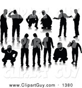 Clip Art of Black Men Silhouettes by Leonid