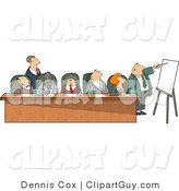 Clip Art of Businessmen and Businesswomen Sitting at a Long Table During a Business Meeting by Djart