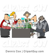 Clip Art of Casino Gamblers Playing Poker Game Around a Table by Djart