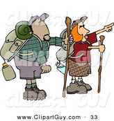 Clip Art of Caucasian Male and Female Hikers Hiking with Backpacks, Canteens, Sleeping Bags, and Walking Sticks by Djart