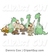 Clip Art of Dinosaurs and Cavemen Standing Together Around a Fire by Djart