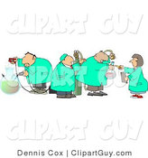 Clip Art of Four Scientists Testing Chemicals in a Science Lab on White by Djart