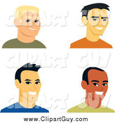 Clip Art of Four Smiling Male Avatars by Monica
