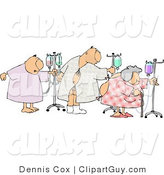Clip Art of Ill Male and Female Hospital Patients Hooked up to IVs and Walking Around in a Hospital by Djart