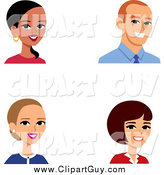 Clip Art of Male and Female Business Avatars by Monica