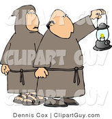 Clip Art of Monks Wearing Brown Robes and Holding a Lit Lantern at Night by Djart