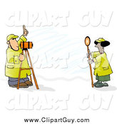 Clip Art of Surveyors at Work with Leveling Instruments by Djart