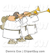 Clip Art of Three Angels Blowing Trumpets by Djart